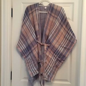 Pink and blue belted poncho